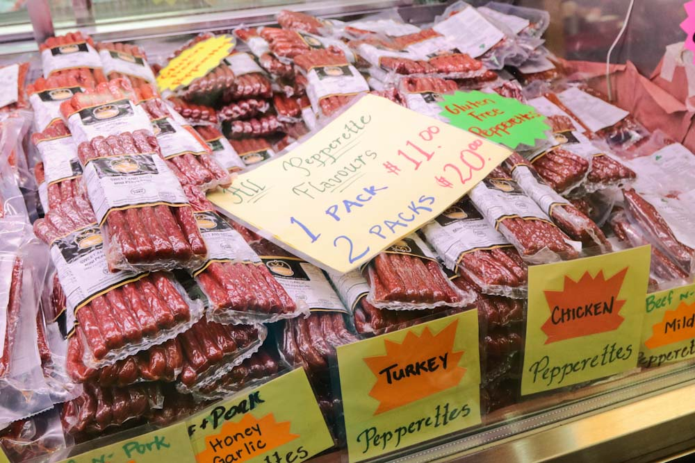 St Jacobs Market - Fresh Meat Counter Pepperettes